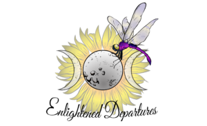 Enlightened Departures logo with a sunflower and dragonfly